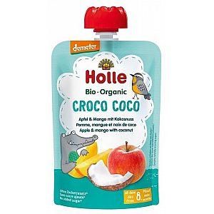Pouchy krokodil Koko, jabolko, mango s kokosom, bio, Holle