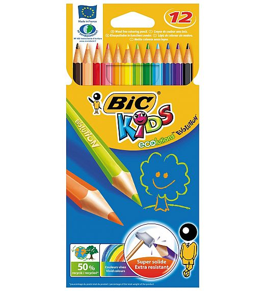 Bic Kids EVOLUTION - 12 kosov nelomljivih barvic